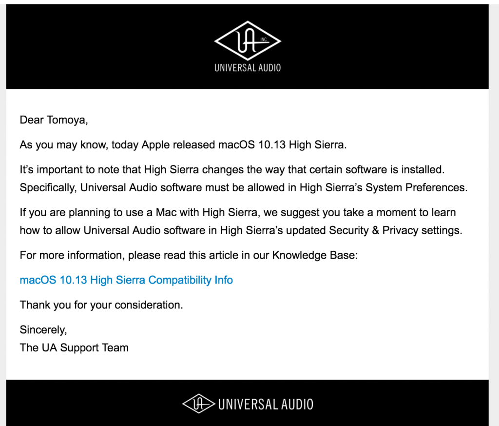 Universal AudioさんからのHigh Sierraの対応メール(英語)|画像