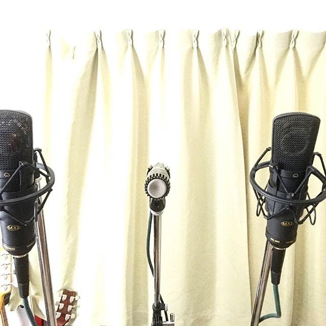 #タンバリン の #レコーディング してたんだけど、どーにも氣に入らず、いつのまにか#マイク がこんなにいっぱいに。。。 #早朝タンバリン #タンバリン芸人 #徹夜 #パーカッション #音楽作ってる人と繋がりたい