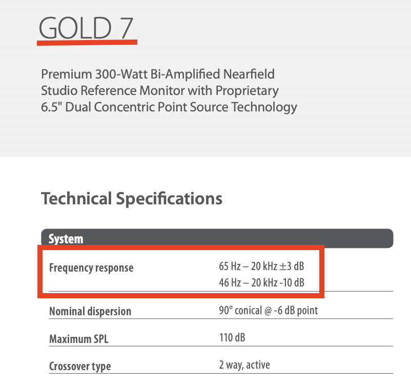 TANNOY GOLD 7   FrequencyResponse